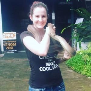 Holding an Olive Python in Kuranda, Cairns