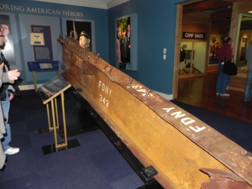 Piece of the North Tower from the World Trade Center damaged by 9/11, Ronald Reagan Presidential Library