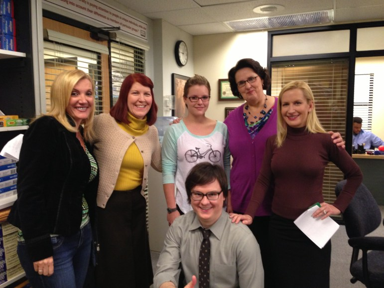 "Meredith Palmer (Kate Flannery), Phyllis Vance (Phyllis Smith), Angela Martin (Angela Kinsey) and Clark Duke on the set of ""The Office"""
