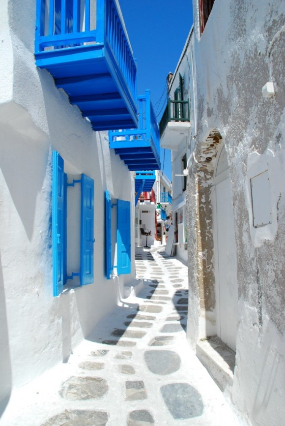 Colorful Streets of Mykonos Greece