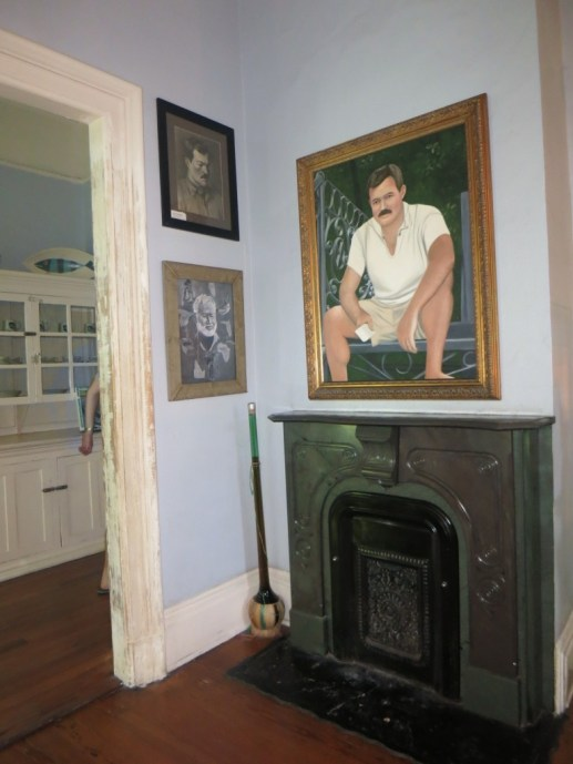 Portraits of Ernest Hemingway inside his house, Key West.