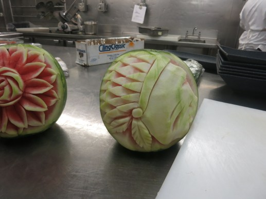 Curved Indian Watermelon in the Galley of Splendour of the Seas