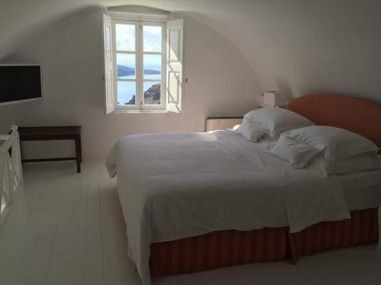 Canaves Oia Suites Upstairs Bedroom, Santorini Greece