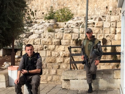 Israel police guarding Temple Mount grounds