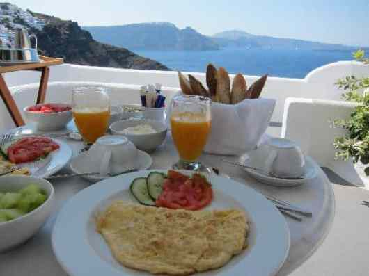 Canaves Oia breakfast , Santorini, Greece