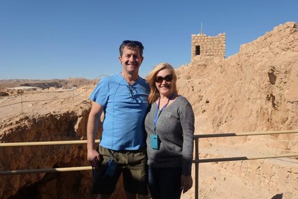 Exploring the ruins at Masada