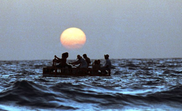 Cuban rafters in the waters