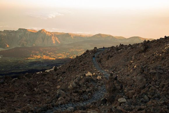 Trail leading to the sunset at Mount Teide - Teide National Park