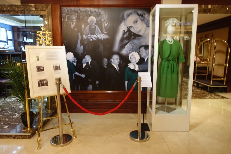 The Shelbourne Dublin display of the green Givenchy dress that Princess Grace of Monaco wore on her visit.