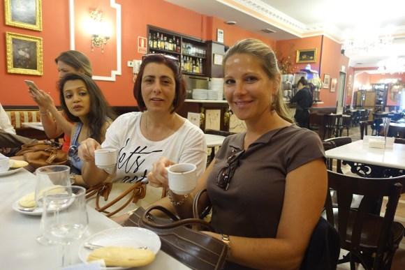Madrid Food Tour - Confitería El Riojano - Amarilis and Jill sipping some coffee