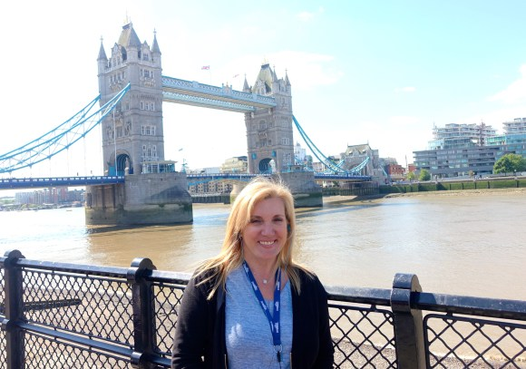 Just outside the Tower of London with the Tower Bridge behind me.