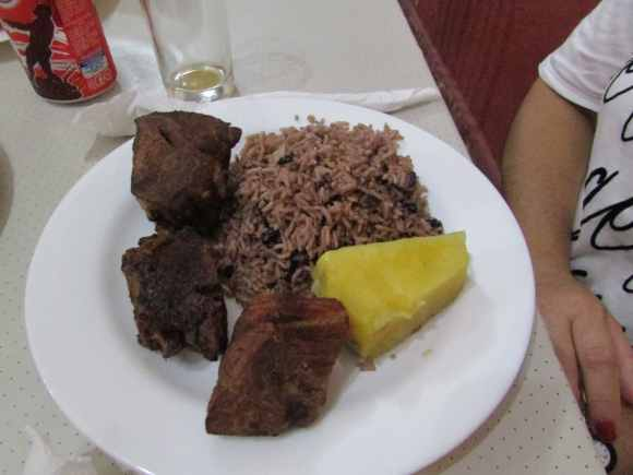 Dinner plate of pork at 1900's Restaurant in Placetas Cuba