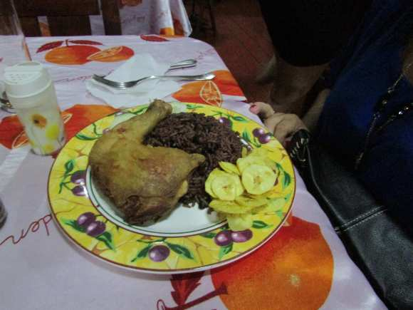 Chicken with congri at El Ranchon Restaurant in Placetas