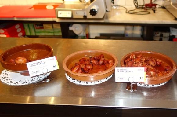 Samples of chorizos at Despaña Fine Foods & Tapas Café Soho