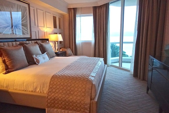 Master Bedroom in the Two Bedroom Ocean Suite at Acqualina