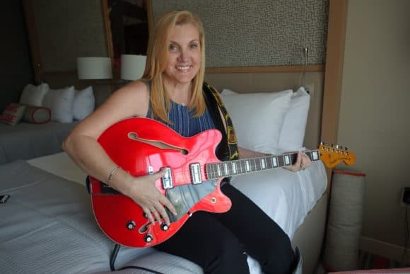 Trying out my Coronado Fender Guitar at the Hard Rock Hotel Orlando