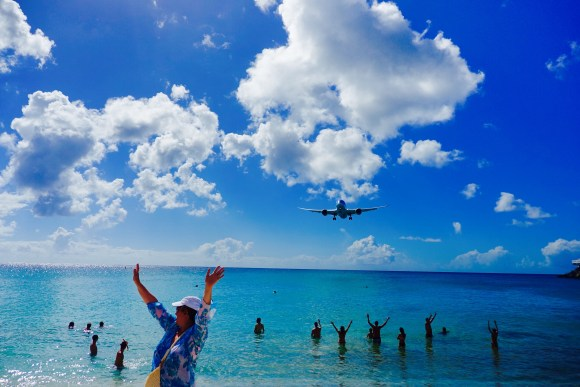 Maho Beach Plane Landing in St. Martin