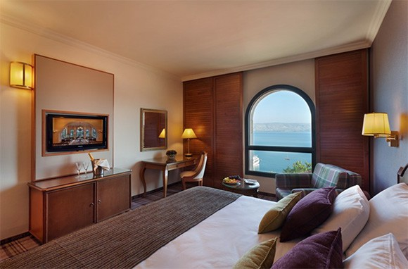 Deluxe Room with a view of the Sea of Galilee - via The Scots Hotel