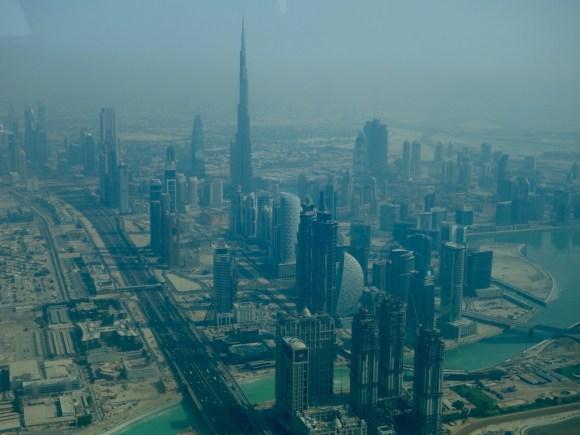 The Dubai skyline on a hazy day from our seaplane tour