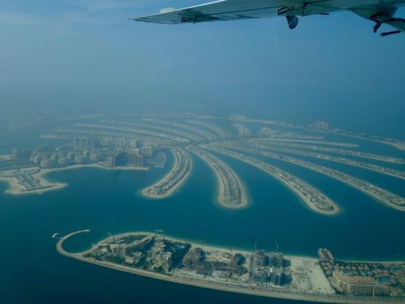 A view of the Palm Jumeirah the artificial archipelago islands in Dubai