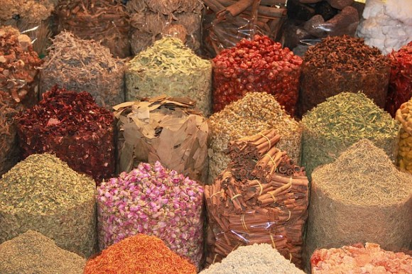 Several selection of spices to the Spice Souk