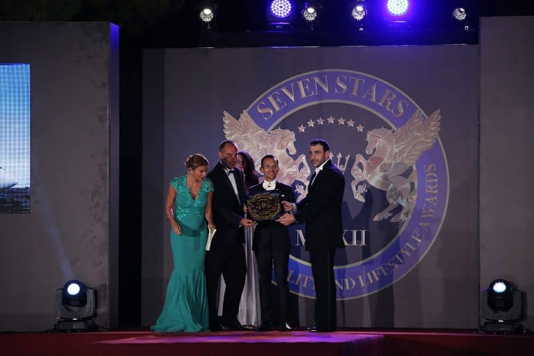 Prince Massimiliano della torre e Tasso and Khalil El Mouthy presenting the award to Deer Jet