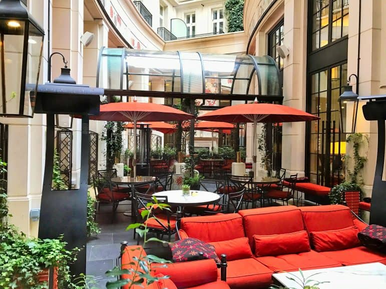 The Garden Lounge outdoor seating area - Corinthia Hotel London