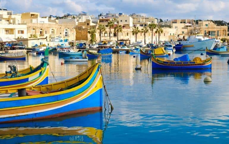 Luzzu famous fishing boats in Marsaxlokk - Malta