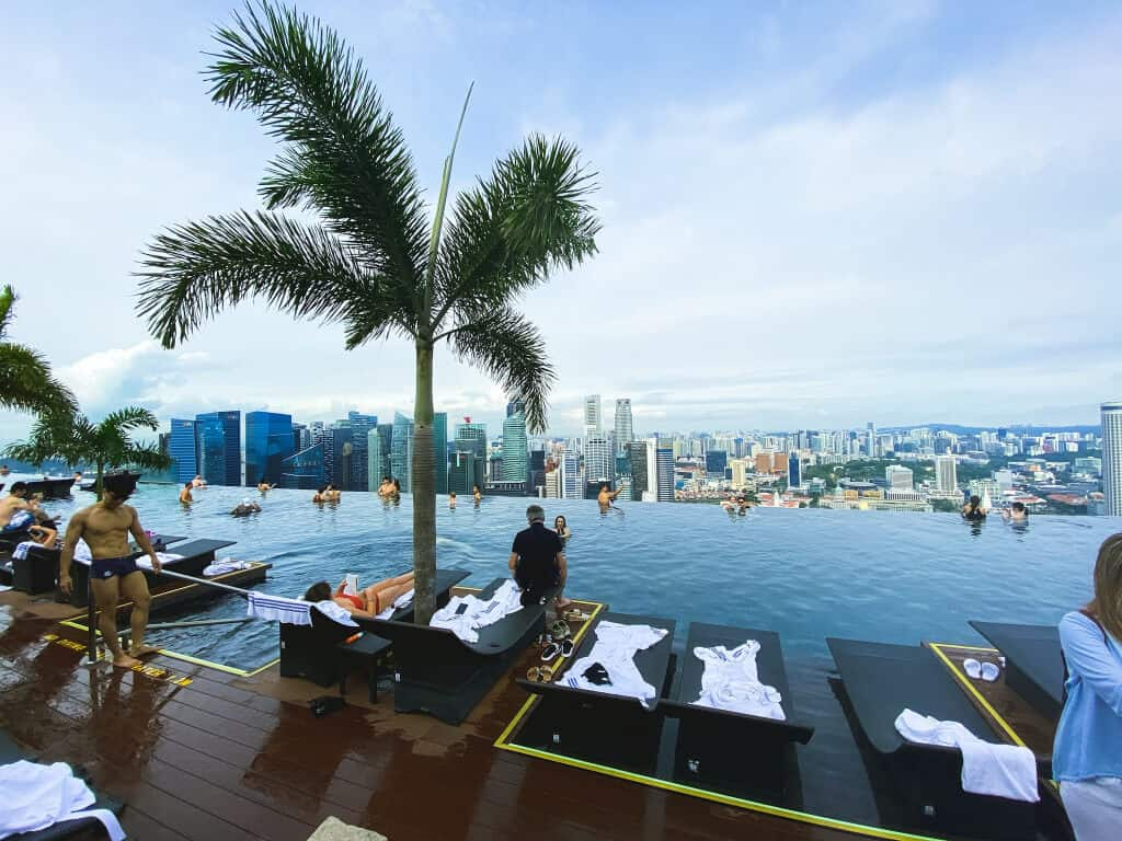 Enjoying the city views from the Infinity Pool on the 57th floor at Marina Bay Sands Hotel