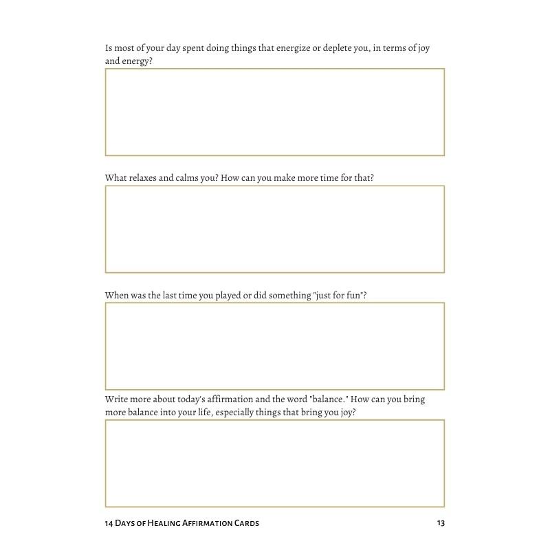 14 Days of Healing Kit - Balance Card Journal Prompts