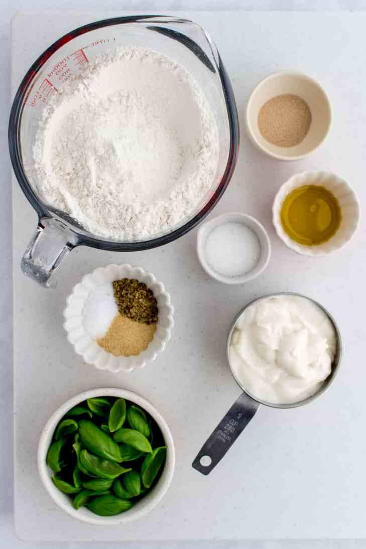 Overhead image of ingredients needed to make homemade flatbread with yogurt.