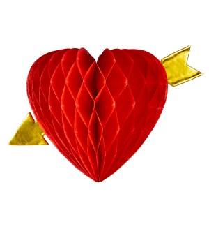 Decor Hartie Inima Cu Sageata 13 cm