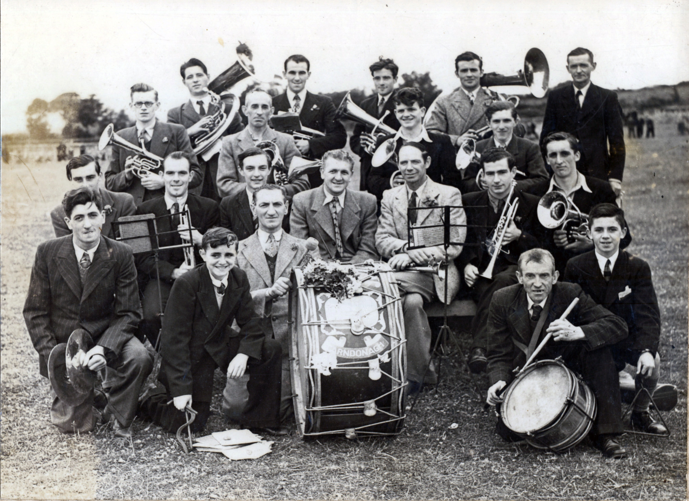 The Carndonagh Brass Band in the Showfield, Carndonagh, c. 1950