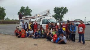 Picture of Bucket Truck & Fifth Graders at Carnegie Elementary School