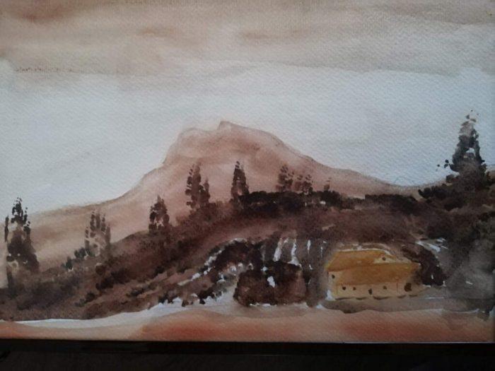 Paysage montagne - aquarelle - aquarelle