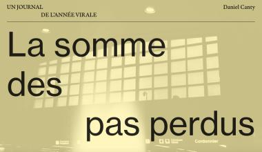 Capture d'écran de l'oeuvre, montrant les carrelages d'une fenêtre ainsi que le titre La somme des pas perdus