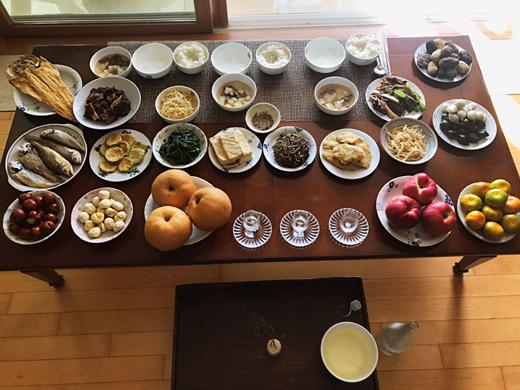 Les plats de chuseok (la fête des récoltes)