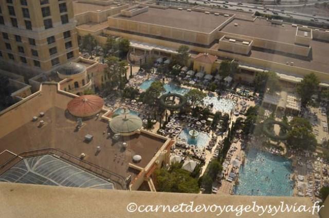 Vue sur la piscine Chambre de l' Hôtel Bellagio Las Vegas
