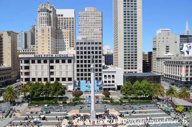 Unions Square San Francisco - vue depuis le roof top