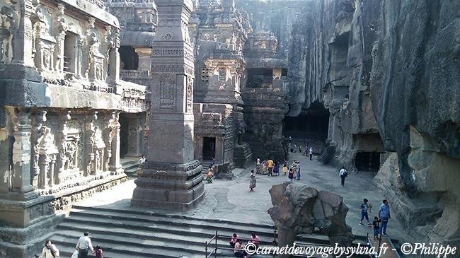 Grottes d'Ellora, situées dans l'état du Maharashtra célèbres pour ses temples bouddhistes, hindous et jains.