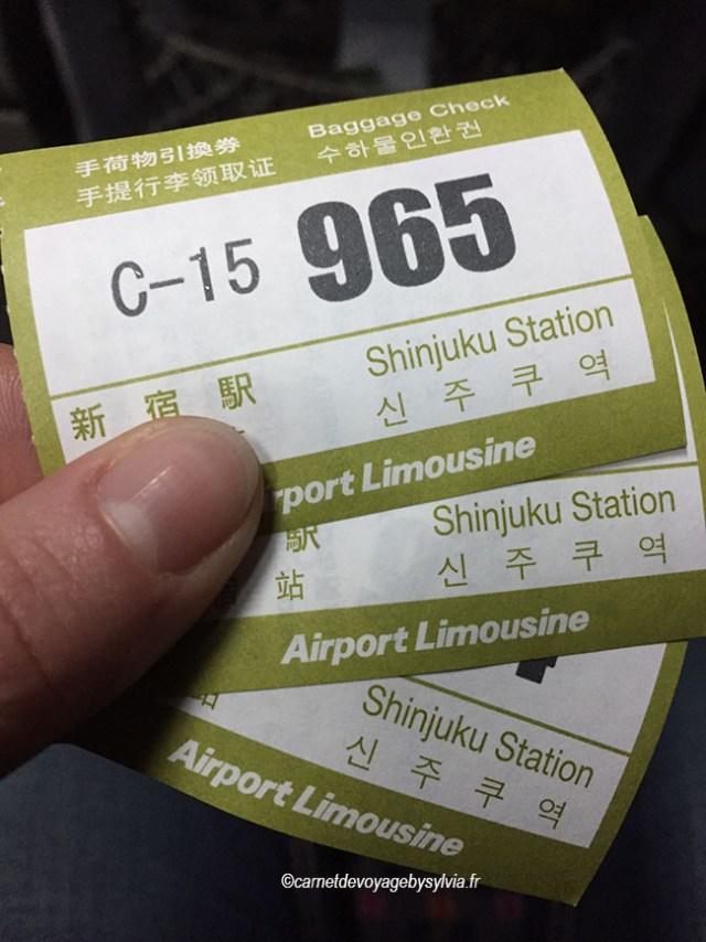 ticket du bus limousine