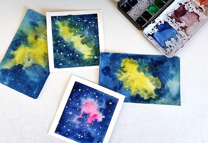 galaxies à l'aquarelle