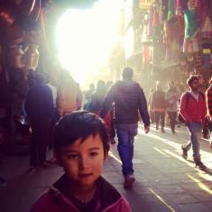 Promenade à Durbar Square avec Kunsel