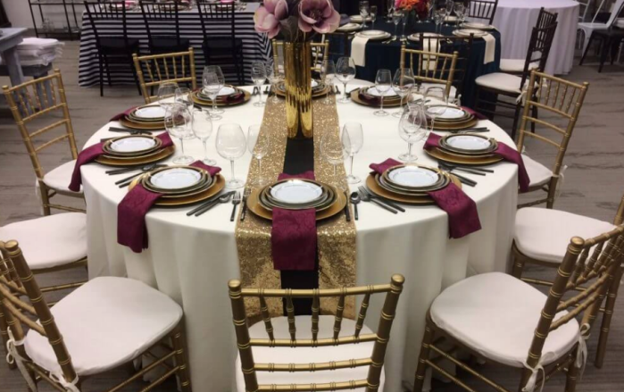 table and chairs event rental