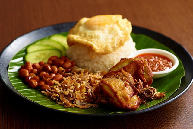 Image result for nasi lemak  with fried egg and chicken