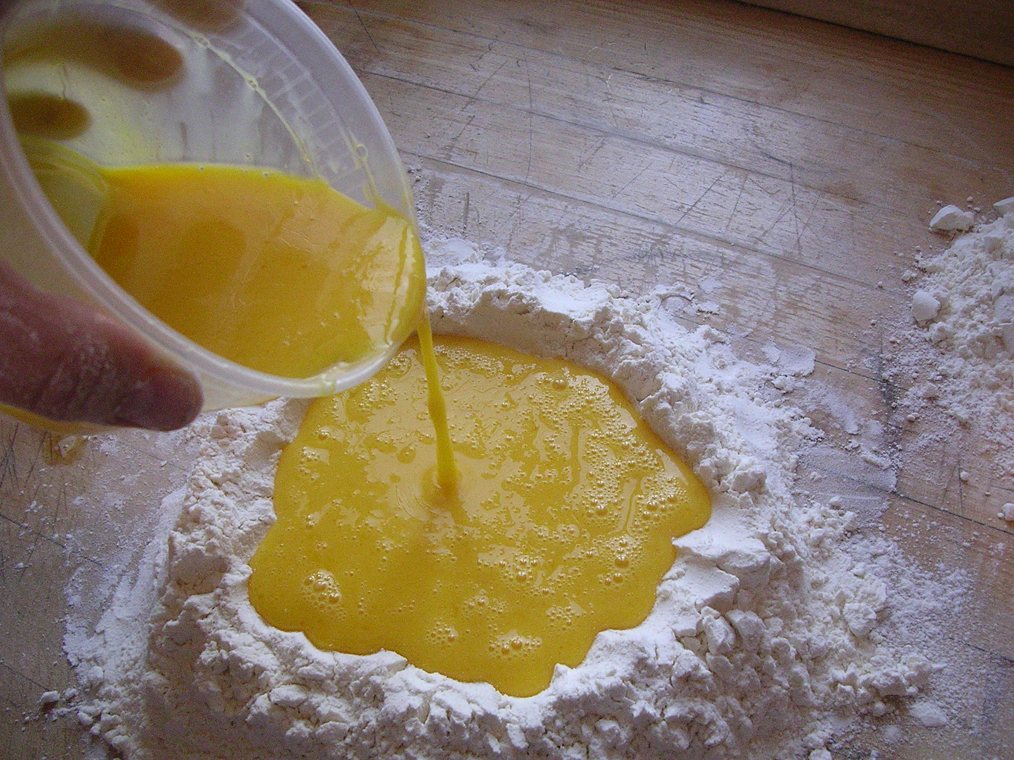 That is a mix of the yolks, eggs, milk, and oil
