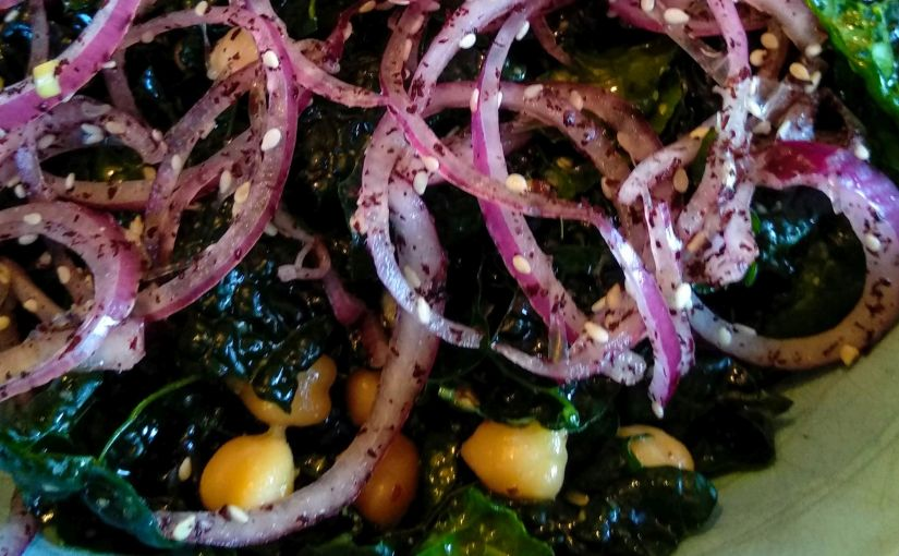 Kale Salad with Sumac Onions and Chickpeas