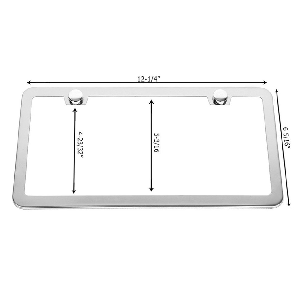 SunplusTrade-License-Plate-Frame-Chrome-Screw-Caps1