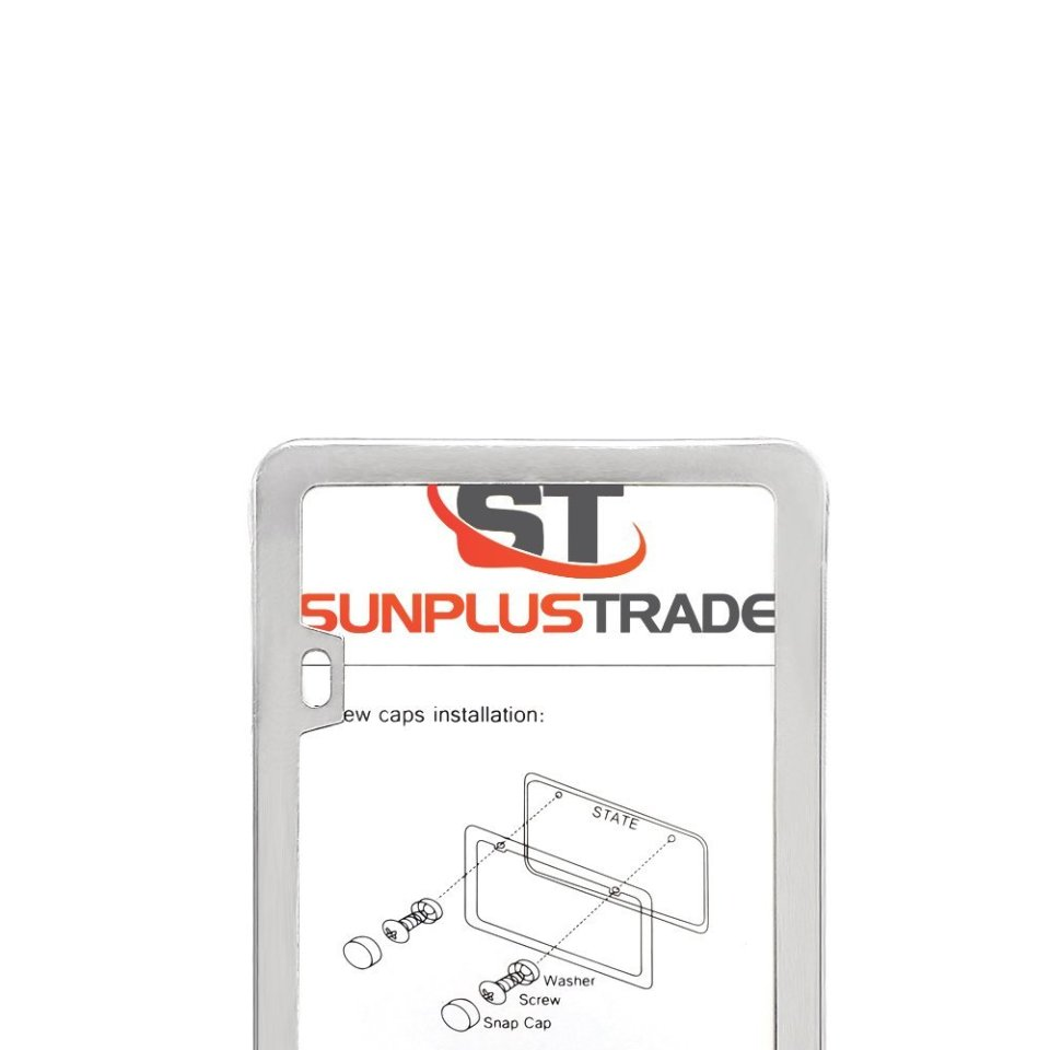 SunplusTrade-License-Plate-Frame-Chrome-Screw-Caps2