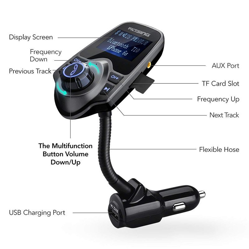 VicTsing Bluetooth FM Transmitter Wireless In-Car2